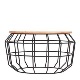 Designercouchtisch aus Massivholz und Metall Drahtgestell