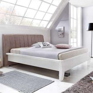 Doppelbett in Weiß und Braun Pinie teilmassiv
