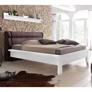 Doppelbett in Weiß und Dunkelbraun teilmassiv