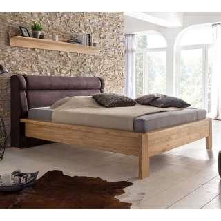 Doppelbett in Eichefarben und Dunkelbraun modern