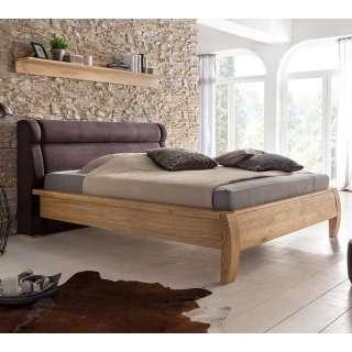 Doppelbett in Dunkelbraun und Eichefarben mit gepolstertem Kopfteil
