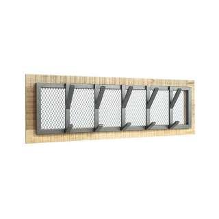 Wandgarderobenleiste aus Metall und Massivholz 5 Kleiderhaken