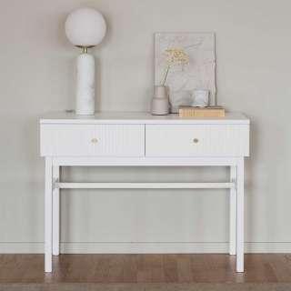 Tischkonsole in Weiß massiv Skandi Design