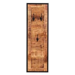 Garderobenpaneel aus Mangobaum Massivholz 3 Kleiderhaken