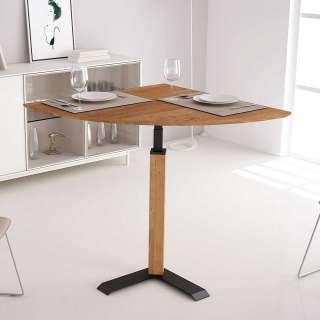 Design Tisch in Wildeichefarben und Schwarz höhenverstellbar