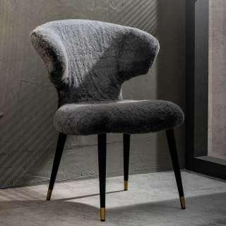Designer Stuhl aus Kunstfell und Metall Grau und Schwarz