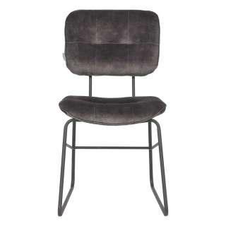 Esszimmerstuhl mit gepolsterter Rückenlehne Bügelgestell aus Metall