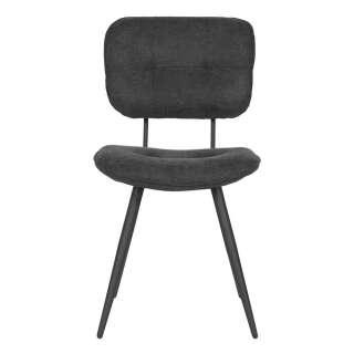 Esszimmer Stuhl mit gepolsterter Rückenlehne Anthrazit und Schwarz