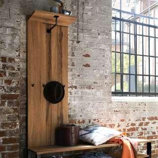 Holz Garderobenpaneel in Eichefarben 4 Kleiderhaken