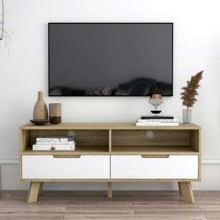 140 cm breite TV Bank in Weiß und Sonoma Eiche zwei Schubladen