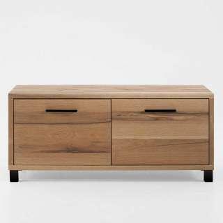 Garderoben Schuhbank aus Eiche Massivholz zwei Schubladen