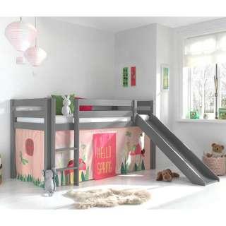 Hochbett mit Rutsche und Spielvorhang Grau Rosa