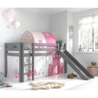 Graues Spielbett mit Rutsche Prinzessin Motiv