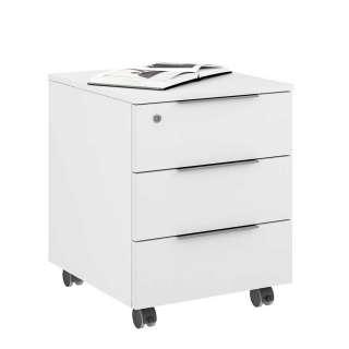 Bürorollcontainer in Weiß glasbeschichtet Metallgriffen