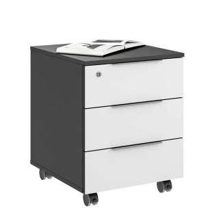Bürocontainer in Weiß glasbeschichtet Anthrazit