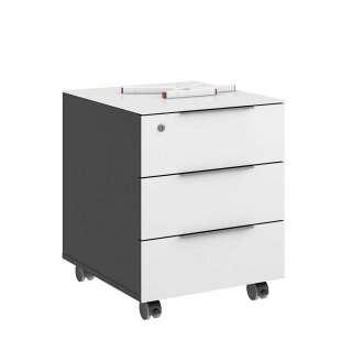 Schreibtischrollcontainer in Weiß Anthrazit
