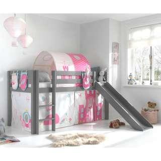 Prinzessinbett Rutsche Vorhang und Stofftunnel Grau Rosa Pink