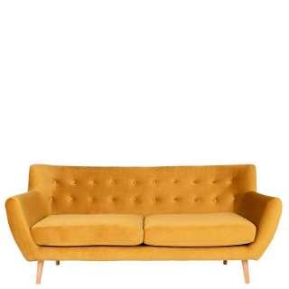 Gelbe Couch mit drei Sitzplätzen Skandi Design