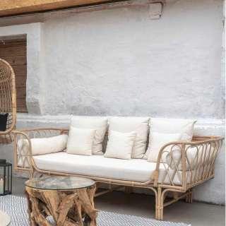 Einzelsofa aus Rattan und Webstoff 200 cm breit