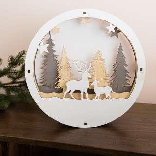 home24 LED-Dekofigur Weihnachtsszene Winterwald