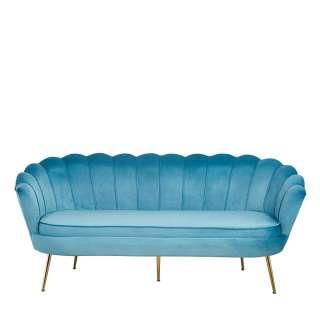 Dreisitzer Muschel Couch in Blau und Goldfarben Samt