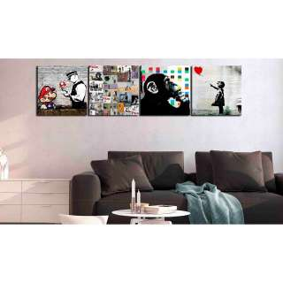 home24 Wandbild (Banksy) Collage (4-teilig)