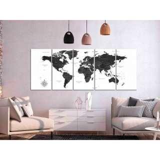 home24 Wandbild Black and White Map (5-teilig)