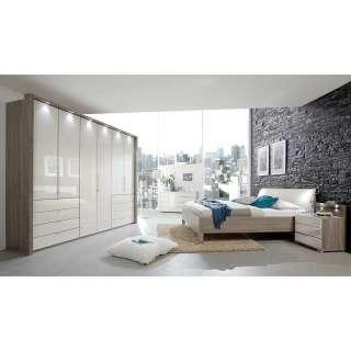 Luxus Schlafzimmer Set in Creme und Eiche Trüffelfarben glasbeschichtet (vierteilig)