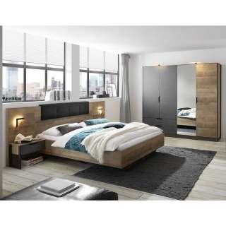 Komplettschlafzimmer in Eiche Sägerau und Grau melaminbeschichtet (vierteilig)
