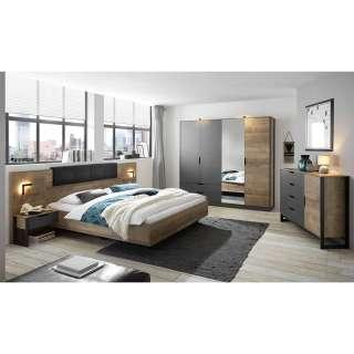 Schlafzimmermöbel Set in Eiche Sägerau und Grau melaminbeschichtet (fünfteilig)