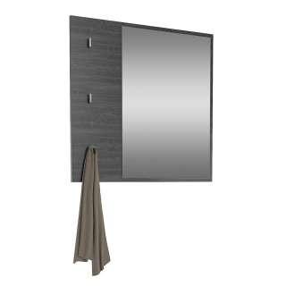 Garderoben Spiegel in Eiche Grau Optik drei Schlüsselhaken