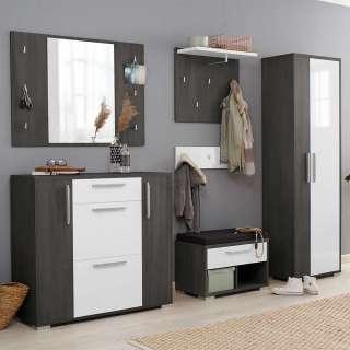 Garderoben Möbel Set in Weiß und Eiche Grau melaminbeschichtet (fünfteilig)