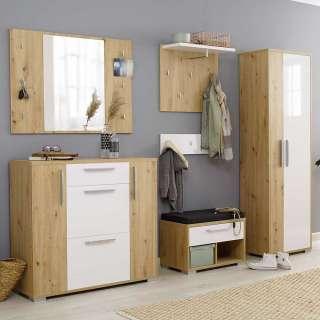 Komplett Garderobe in Weiß und Asteichefarben melaminbeschichtet (fünfteilig)