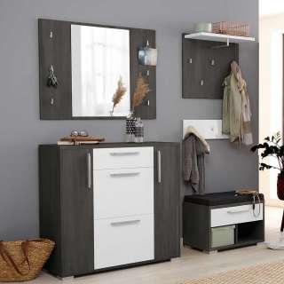 Garderoben Wand in Eiche Grau und Weiß melaminbeschichtet (vierteilig)