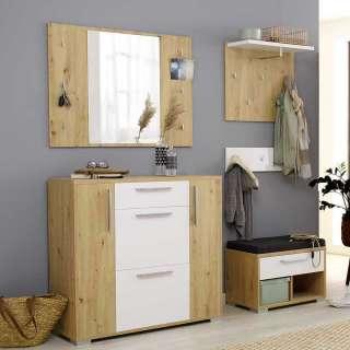 Komplett Garderobe in Asteichefarben und Weiß melaminbeschichtet (vierteilig)