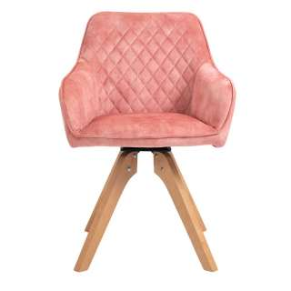 Armlehnenstuhl in Rosa und Buchefarben Gestell aus Massivholz