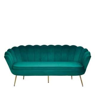 Muschel Sofa in Grün und Goldfarben Samt