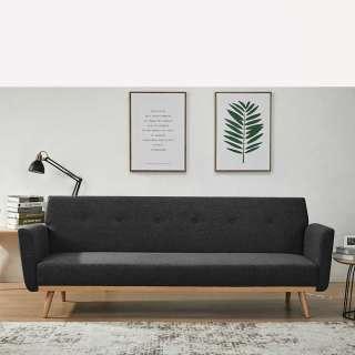 Funktions Klappsofa in Schwarz und Holz Naturfarben Skandi Design