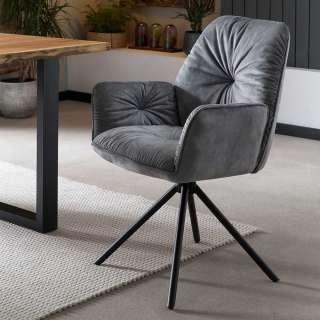 Polster Armlehnstuhl in Grau und Schwarz drehbar