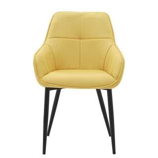 Polster Armlehnstuhl in Gelb und Schwarz Gestell aus Metall