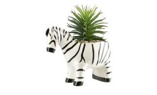 Sukkulente im Topf  Zebra ¦ weiß ¦ Kunststoff, Steinzeug Dekoration > Kunstblumen - Höffner