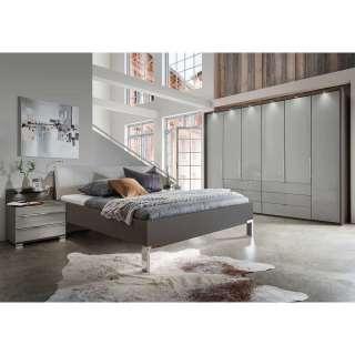 Schlafzimmer Set in Hellgrau und Braun LED Beleuchtung (vierteilig)