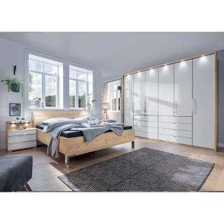 Premium Schlafzimmerset in Eiche Bianco und Weiß glasbeschichtet (vierteilig)