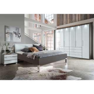 Komplettschlafzimmer in Weiß und Braun glasbeschichtet (vierteilig)