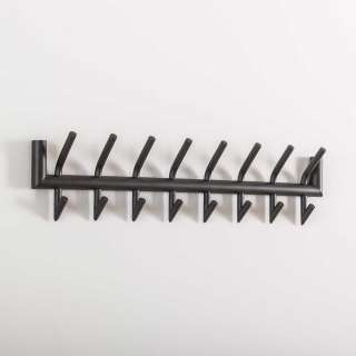 Metall Garderobenleiste in Dunkelgrau 8 Kleiderhaken