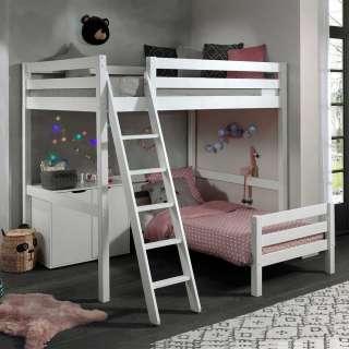 Kinderdoppelhochbett aus Kiefer Massivholz Weiß Schrank
