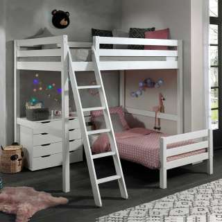 Kinderzimmer Stockbett aus Kiefer Massivholz Weiß Kommode