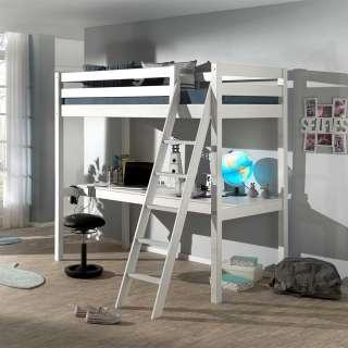Kinderzimmer Bett aus Kiefer Massivholz Weiß Schreibtisch