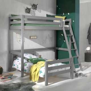 Kinderzimmer Stockbett aus Kiefer Massivholz Grau Leiter