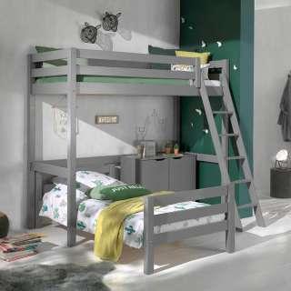 Winkel Etagenbett aus Kiefer Massivholz Grau Schrank